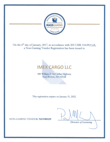 NGV1139 Imex Cargo LLC Certificate for casino